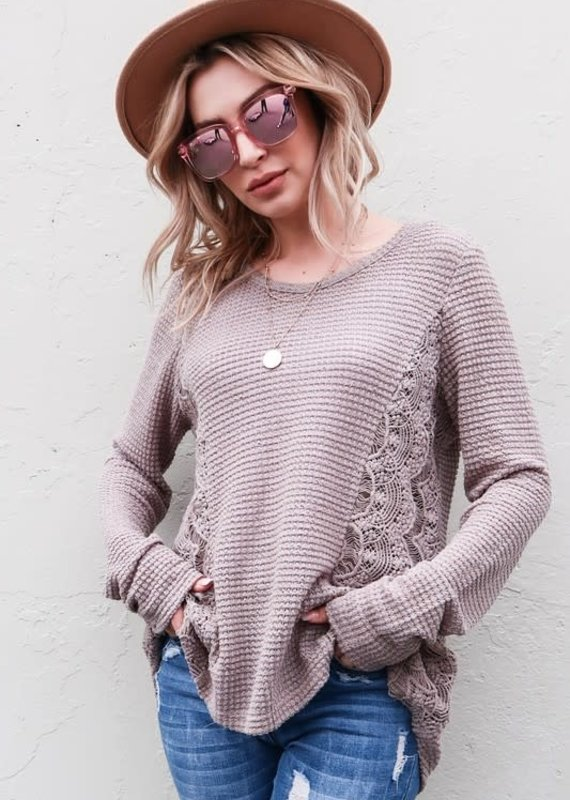 And the Why Taupe Waffle Side Lace Top (S-3XL)