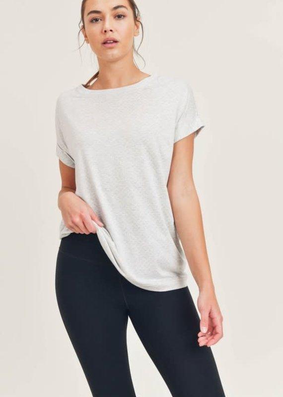 Mono B Gray Textured Cuff Sleeve Top (S-3XL)
