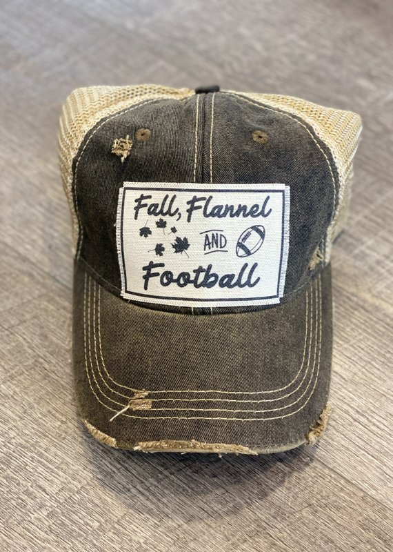 Vintage Life Fall Flannels Football Distressed Hat
