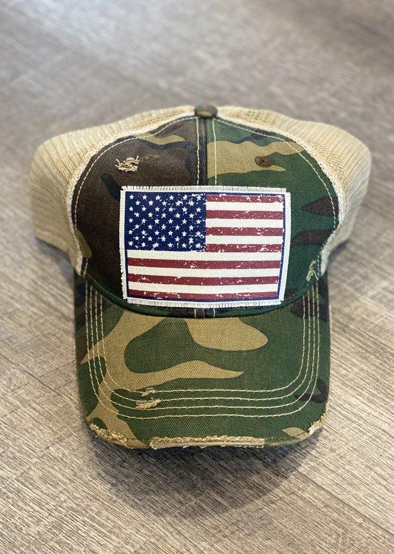 Vintage Life Camo American Flag Distressed Hat