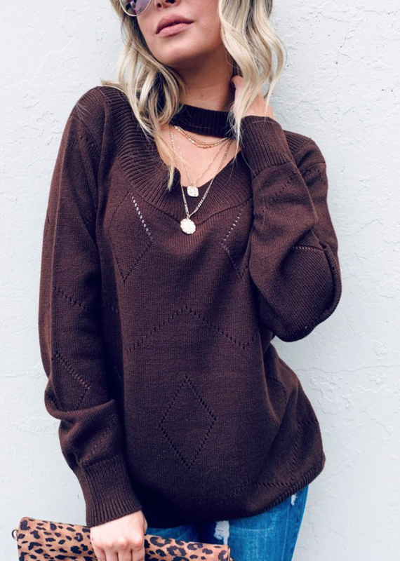 And the Why Chocolate Choker Sweater (S-L)