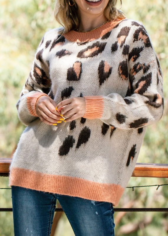 And the Why Coral Leopard Sweater (S-L)