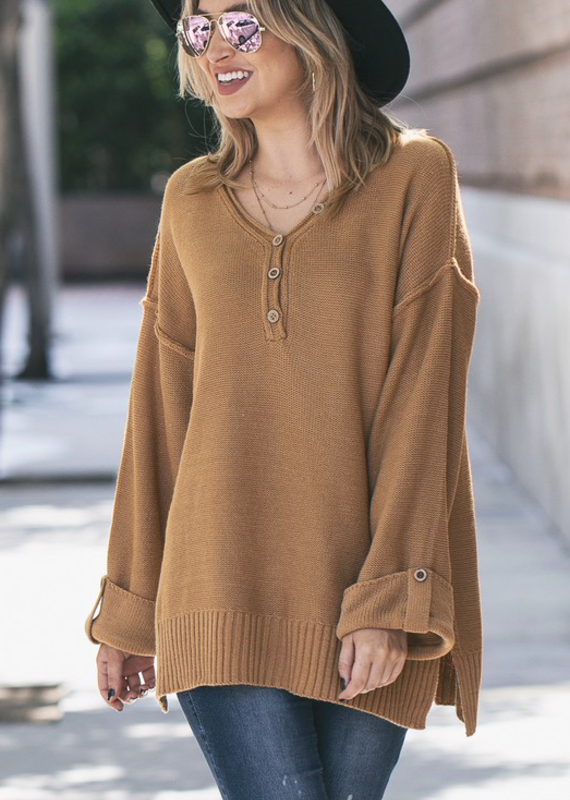 And the Why Camel Henley Sweater (S-L)
