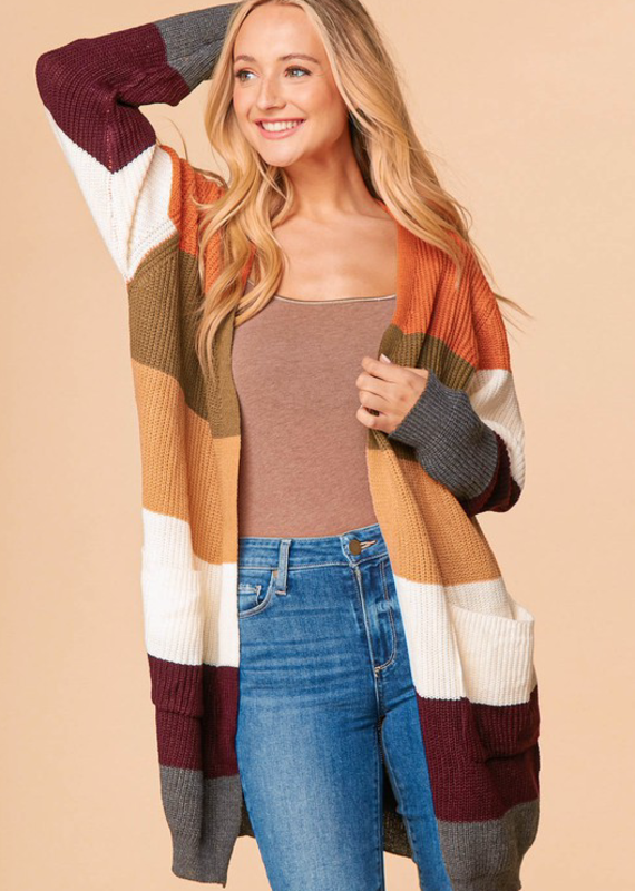 And the Why Fall is Here Striped Knit Cardigan (S-3XL)