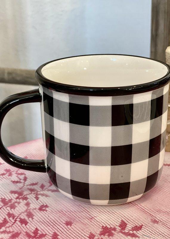 Boston International Black & White Checker Mug
