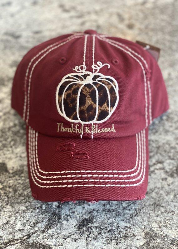 Hana Thankful & Blessed Burgundy Hat