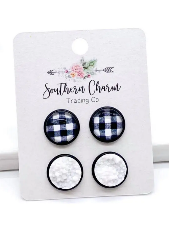 Southern Charm Trading Co 12mm White & Black Check Earrings Set