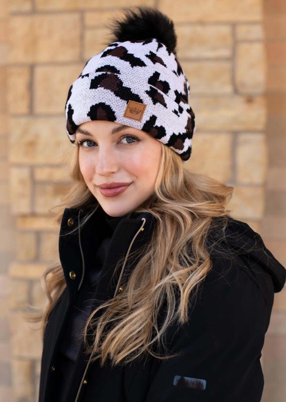 Panache White Leopard Fleece Pom Beanie
