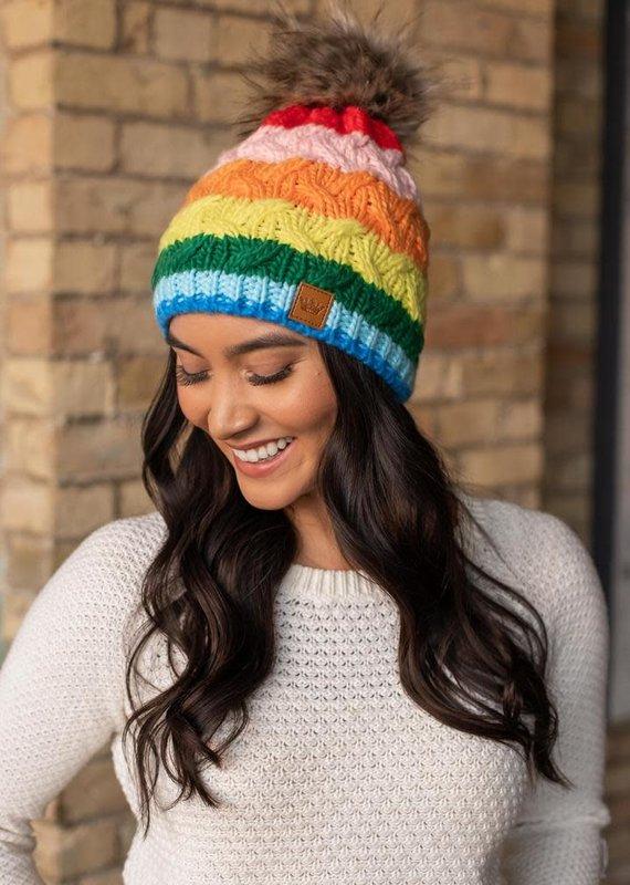 Panache Multi-Color Stripe Pom Beanie