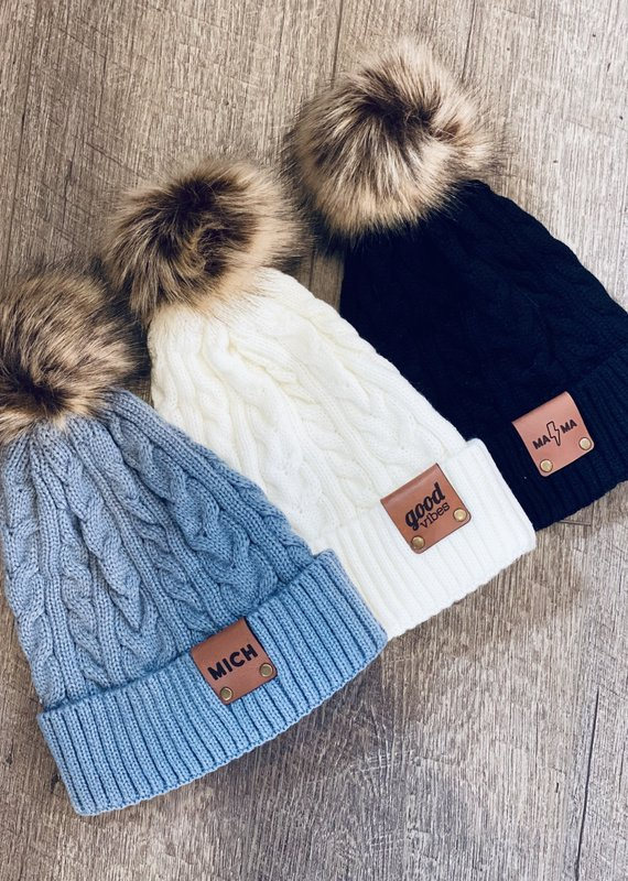 Emerald + Clay E+C Leather Patch Pom Beanies