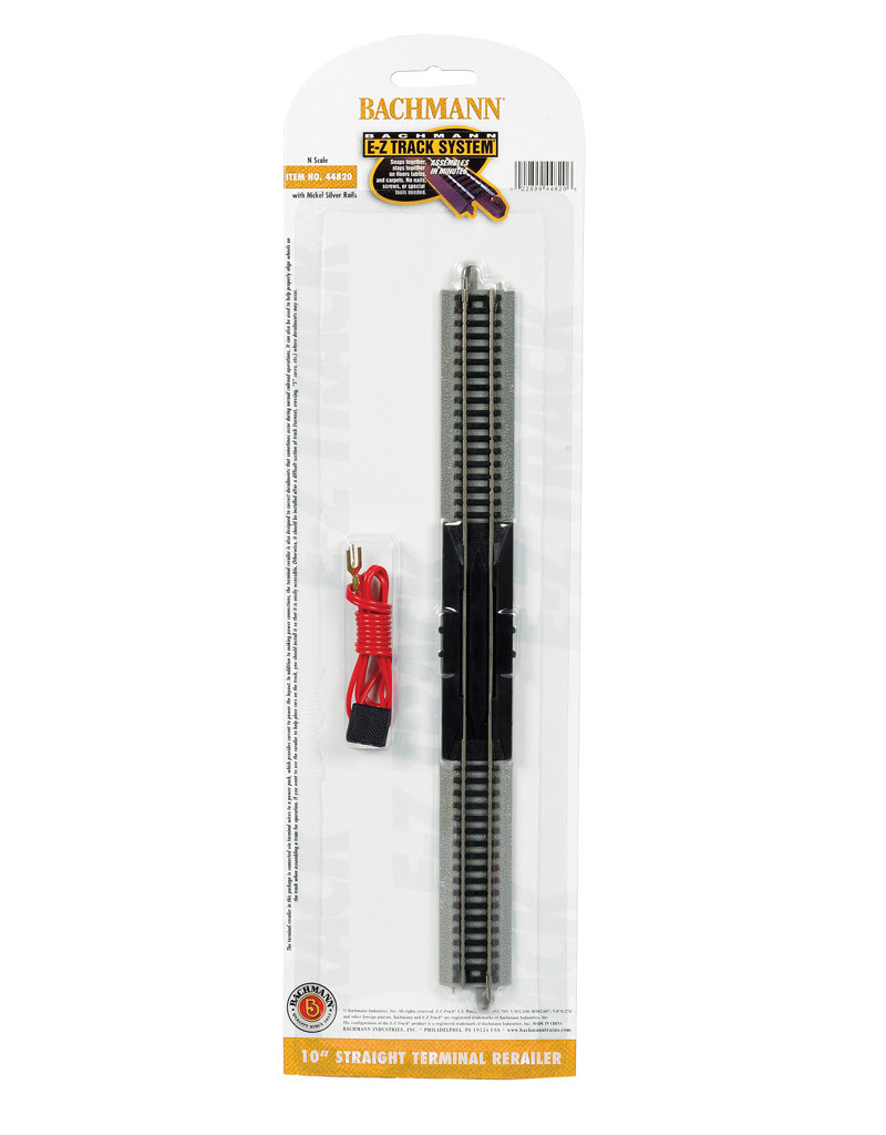 """Bachmann 10"""" Straight Terminal Rerailer with Wire N Scale EZ Track"""