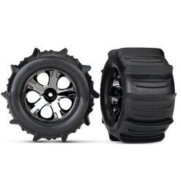 Traxxas 4175 - All-Star Black Chrome Wheels / Traxxas Paddle Tires