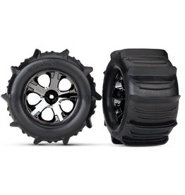 "Traxxas 4175 - Traxxas Paddle Tires 2.8"" Pre-Mounted w/All-Star Nitro Front Wheels (2)"