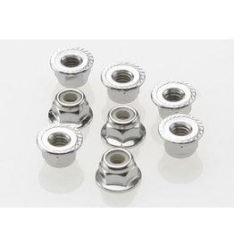 Traxxas 3647 - 4mm Steel Flanged Serrated Nylon Locking Nuts (8)