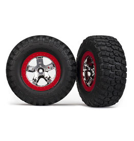 Traxxas 5867 - SCT Chrome, Red Beadlock Wheels / BFGoodrich® Mud-Terrain™ T/A® KM2 Tires