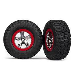Traxxas 5869 - SCT Chrome, Red Beadlock Wheels / BFGoodrich® Mud-Terrain™ T/A® KM2 Tires