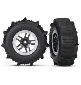 Traxxas 5891 - SCT Split-Spoke Satin Chrome Wheels / Traxxas Paddle Tires