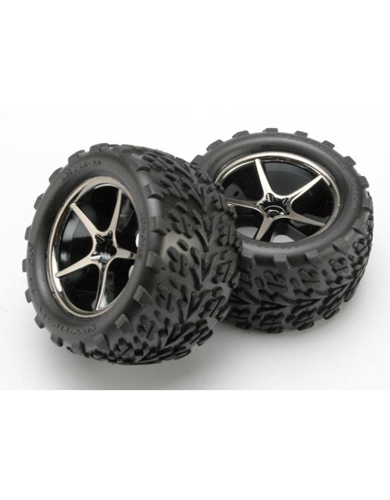 Traxxas 7174A - Pre-Mounted Talon Tires w/Gemini Wheels (Black Chrome) (2)