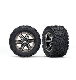 "Traxxas 6774X - Rustler Talon EXT 2.8"" Pre-Mounted Tires w/RXT Wheels (2) (Black Chrome)"