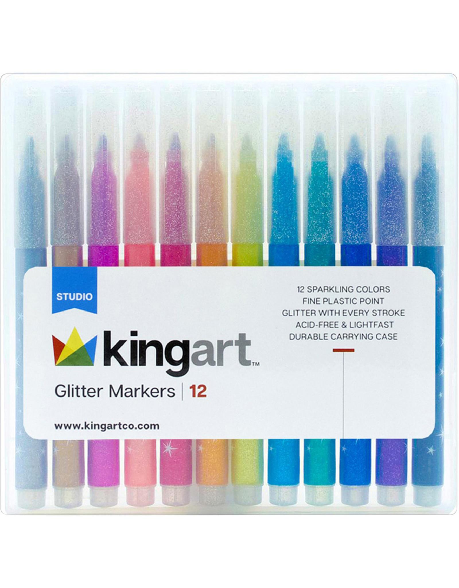 Kingart Glitter Markers - 12 Piece Set