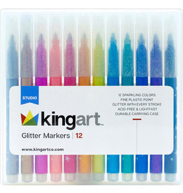 Kingart Glitter Markers - 12 Piece Set