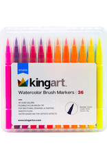 Kingart Watercolor Brush Markers - 36 Piece Set