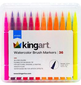 Kingart Watercolor Brush Markers - 36 Piece Set