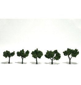 "Woodland Scenics TR1502 - Ready Made Trees, Medium Green 1 1/4""-2""(5)"
