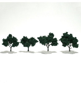 "Woodland Scenics TR1505 - Ready Made Trees, Dark Green 2-3"" (4)"