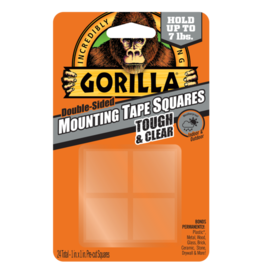 Gorilla Glue Gorilla - Clear Mounting Tape Squares (1in, 24pck)