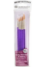 Royal Brush Manufacturing 9131 - Gold Taklon Brush Set 5-Pack - Round