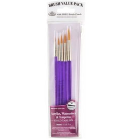 Royal Brush Manufacturing 9131 - Gold Taklon Brush Set 5-Pack - Round