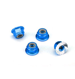 Traxxas 1747R - 4mm Aluminum Flanged Locking Nuts - Blue
