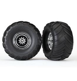 Traxxas 3663X - Chrome Wheels / Terra Groove Dual Profile Tires - 2WD Electric Rear