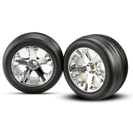 Traxxas 3771 - All-Star Chrome Wheels / Alias Ribbed Tires - Electric Front