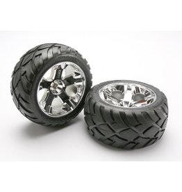 Traxxas 5576R - All-Star Chrome Wheels / Anaconda® Tires