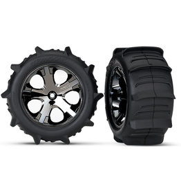 Traxxas 3776 - All-Star Black Chrome Wheels / Traxxas Paddle Tires