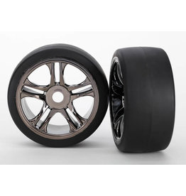 Traxxas 6477 - Split Spoke Black Chrome Wheels / S1 Compound Slick Tires - Rear