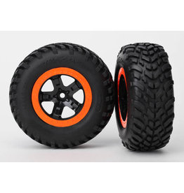 Traxxas 5863 - SCT Black, Orange Beadlock Wheels / SCT Off-road Racing Tires