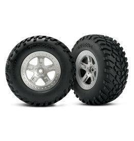 Traxxas 5873 - SCT Satin Chrome Beadlock Style Wheels / SCT Off-road Racing Tires