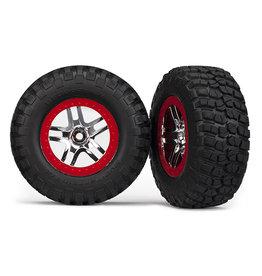 Traxxas 5877A - SCT Split-Spoke Chrome, Red Beadlock Wheels / BFGoodrich® Mud-Terrain™ T/A® KM2 Tires