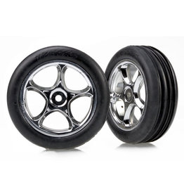 "Traxxas 2471R - Tracer 2.2"" Chrome Wheels / Alias Ribbed Tires"