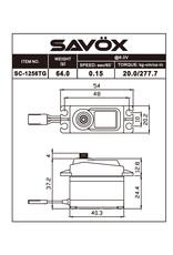Savox SAVSC1256TG - Standard Size Coreless Digital Servo 0.15sec / 277oz @ 6V