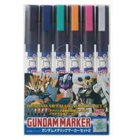 Mr. Hobby GMS125 - Gundam Marker Metallic Set 2 (6 Pack)