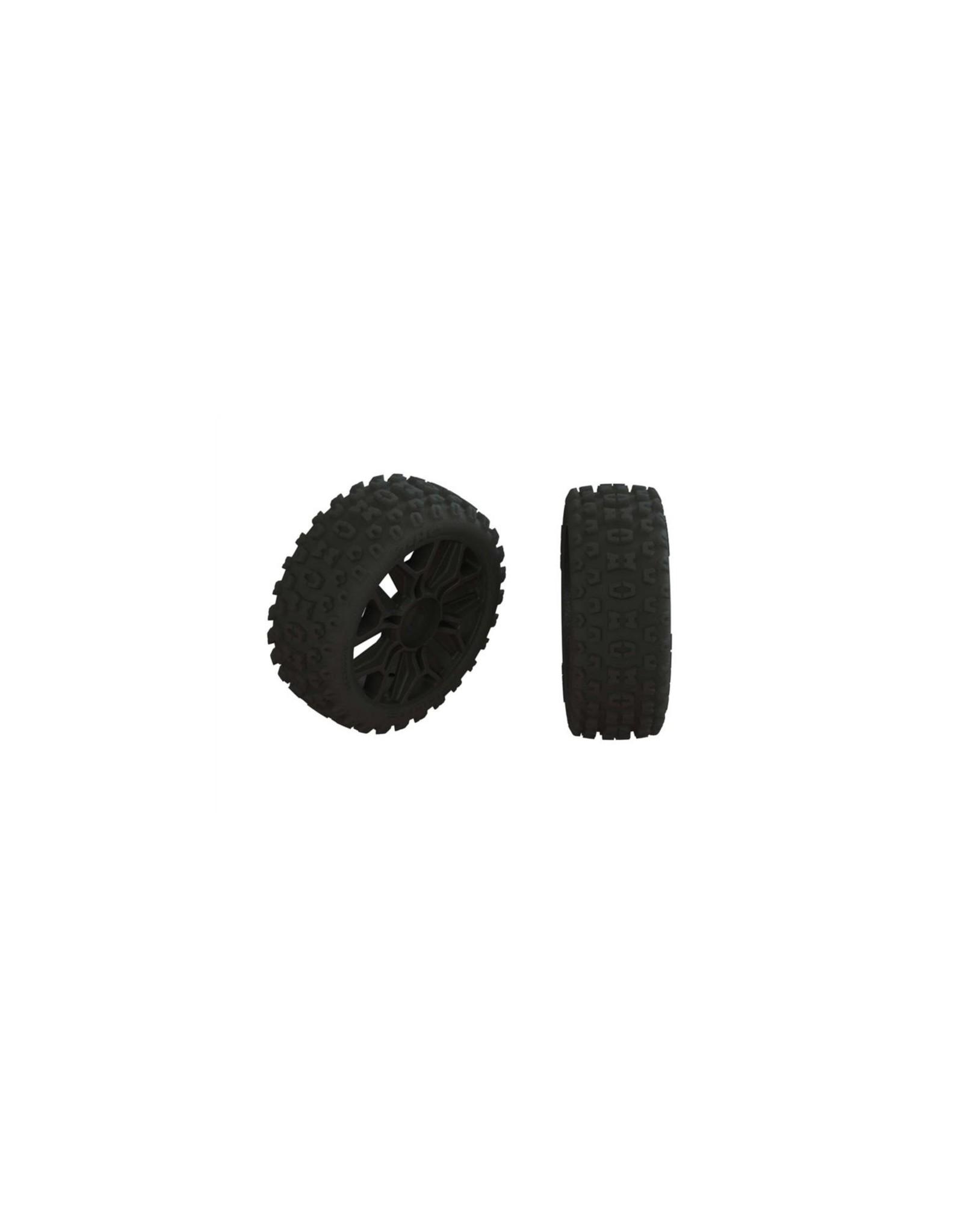 Arrma AR550057 - 1/8 2HO Front/Rear 3.3 Pre-Mounted Tires, 17mm Hex - Black