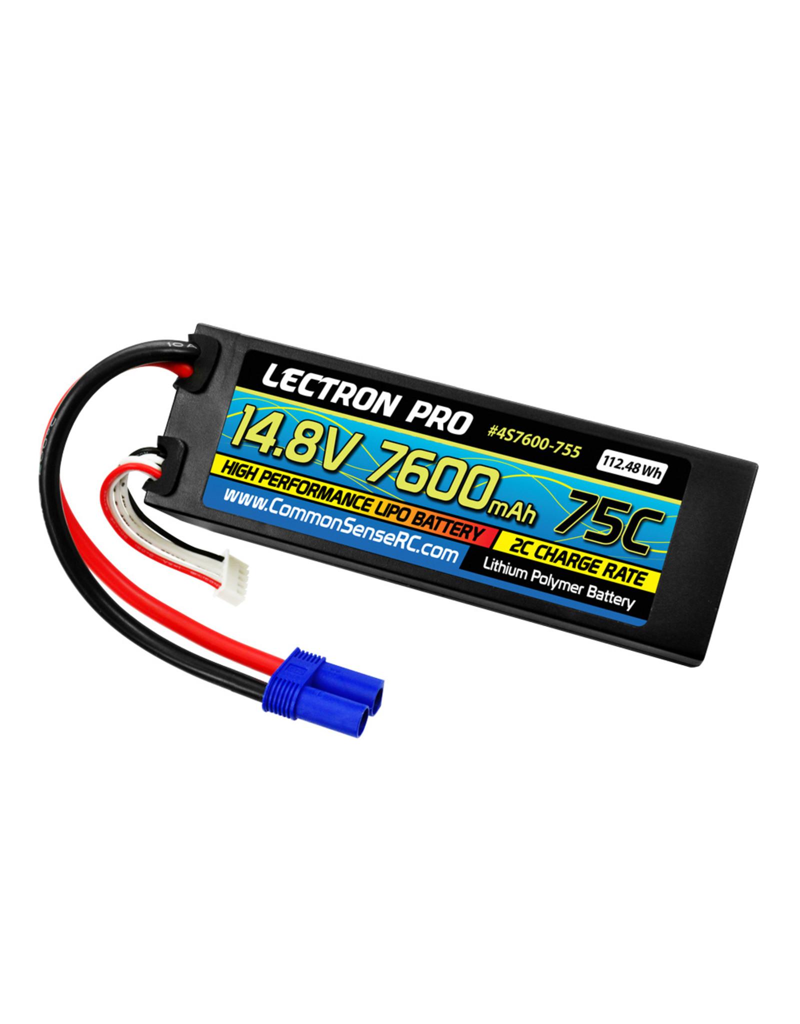 Common Sense RC 4S7600-755 - 14.8V 7600mAh 75C Hard Case Lipo Battery with EC5 Connector