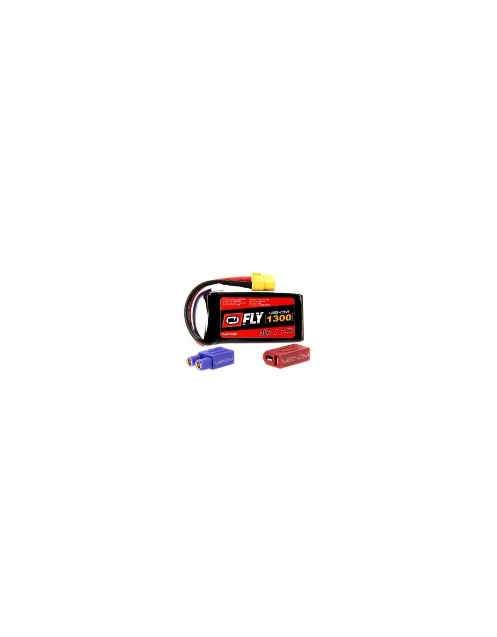 Venom Racing VNR25005 - 7.4V 1300mAh 2S 30C FLY LiPo Battery: UNI 2.0 Plug