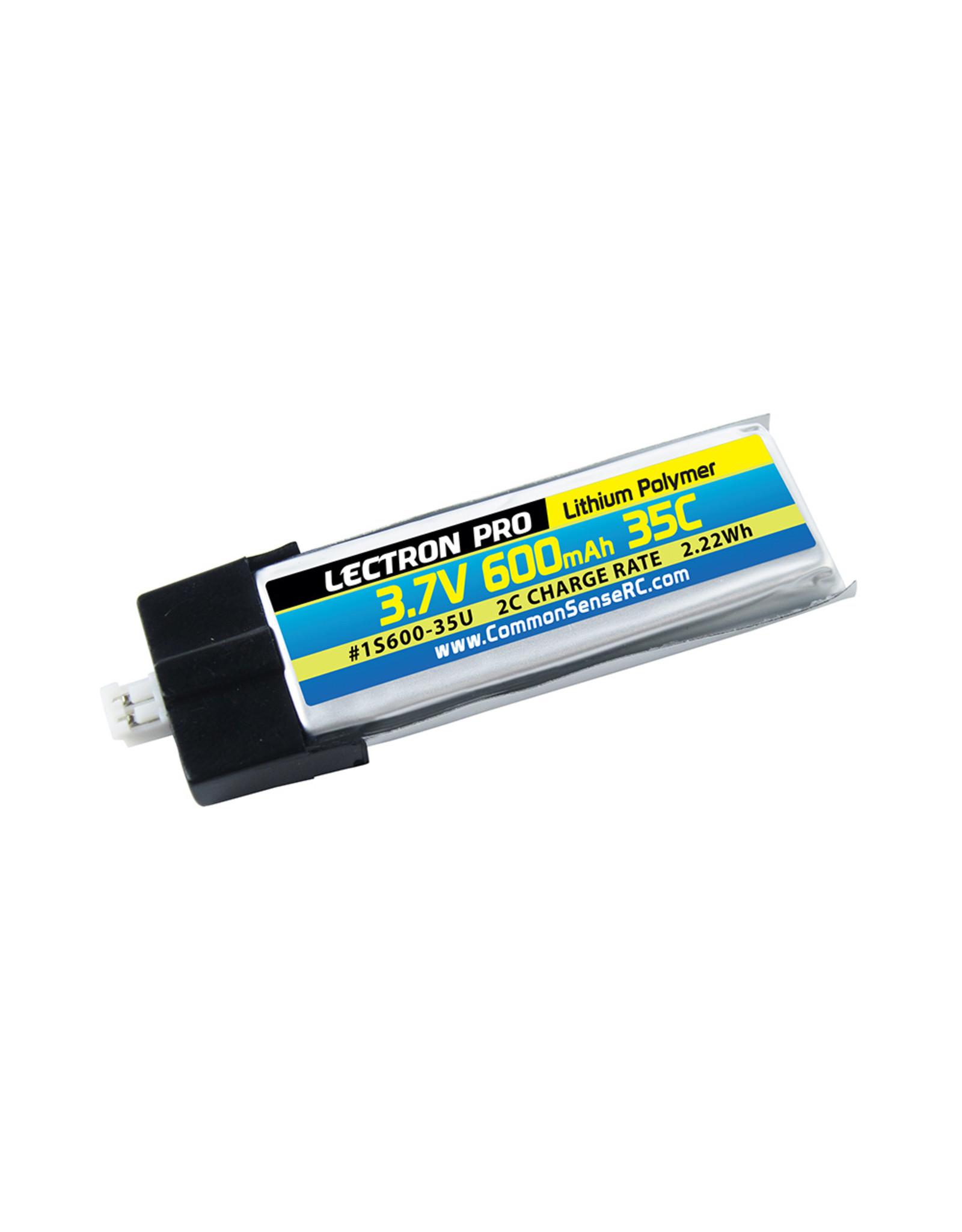 Common Sense RC 1S600-35U - 3.7V 600mAh 35C Lipo Battery with UMX Connector