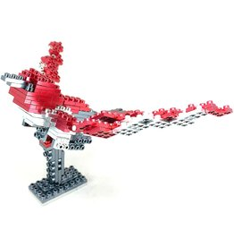 Metomics Series 001 - Ruby Red - Metal Building Block 3-n-1 Set (Sparrow, T-Rex, Mecha)