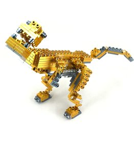 Metomics Series 001 - Aztec Gold - Metal Building Block 3-n-1 Set (T-Rex, Mecha, Sparrow)